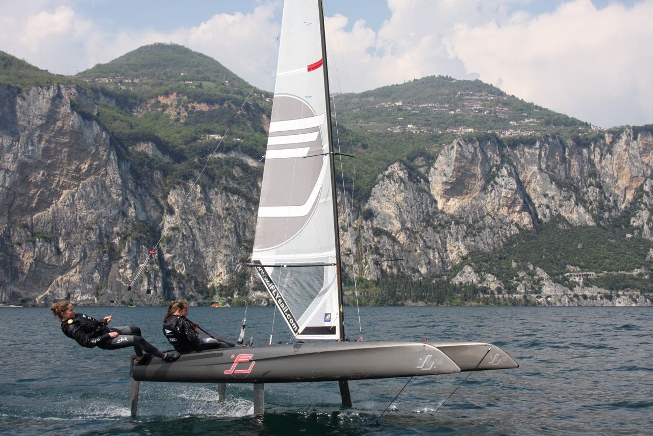 iFly15-two-girls on ifly foiling Catamaran