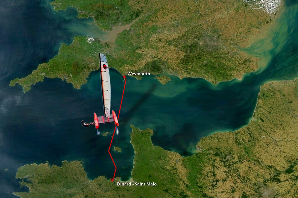 World record attempt : iFLY15 single-handed 15ft. Hydrofoil beach-catamaran to fly across the Channel. WSSRC record Cowes to Dinard / Sain Malo